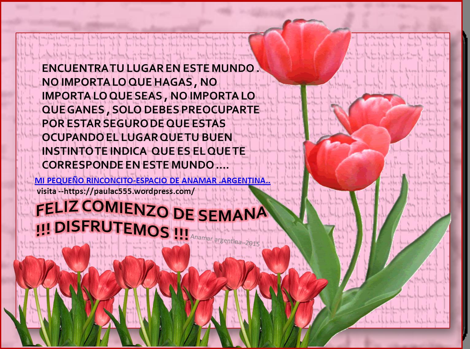 Imagen pensamientos positivos motivadores -INICIO DE SEMANA -anamar  argentina -2015